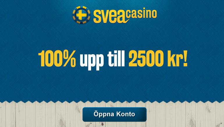 Svea Casino välkomnar nya spelare med en bonus på 2500 kr