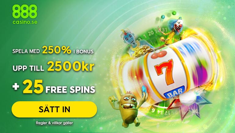 888casino erbjuder dig just nu en 250% insättningsbonus på upp till 2500 kronor + 25 free spins som ny spelare!