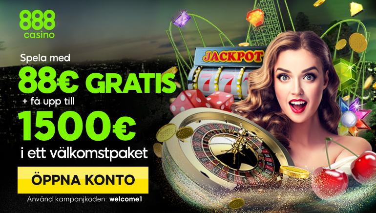 Enormt Gratis Spel med €88 och €1500 i Välkomstbonus På 888 Casino