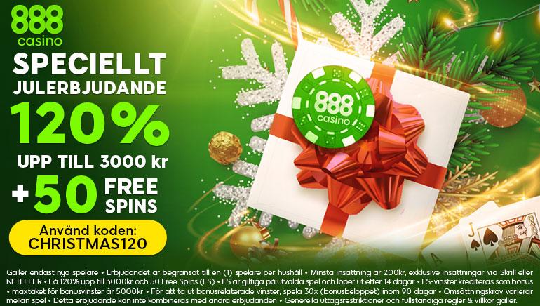 888 casino ger upp till 3000 kronor i jul och 50 free spins som välkomstbonus