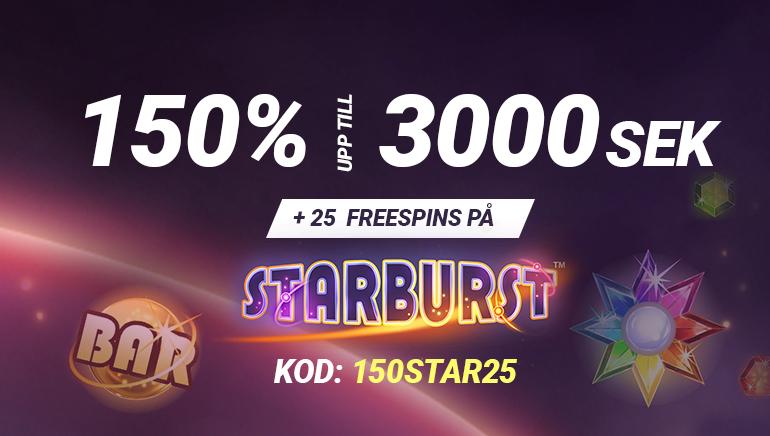 Eklusivt: 25 Freespins och 150% upp till 3000 SEK på Bet90