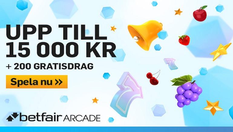 Betfair Arcade Bonus: 15000KR + 200 Free Spins för att njuta av hundratals spel