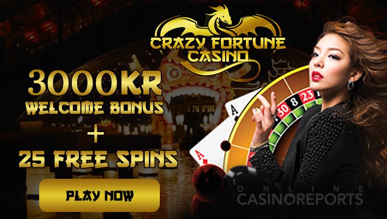 3000Kr och 25 Free Spins tillgängliga med Crazy Fortune's Välkomstbonus