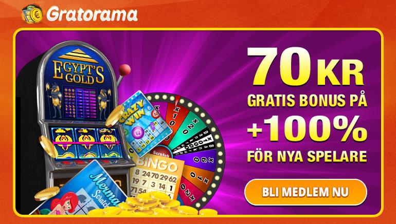 Gå 70 KR gratis och ett generöst välkomsterbjudande på Gratorama